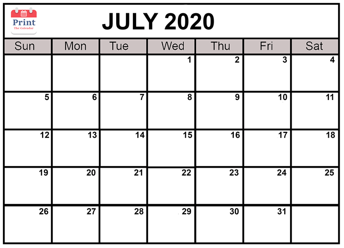 Online Free Printable July 2020 Calendar