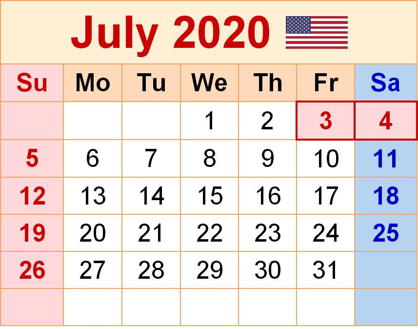 Printable Calendar July 2020 USA