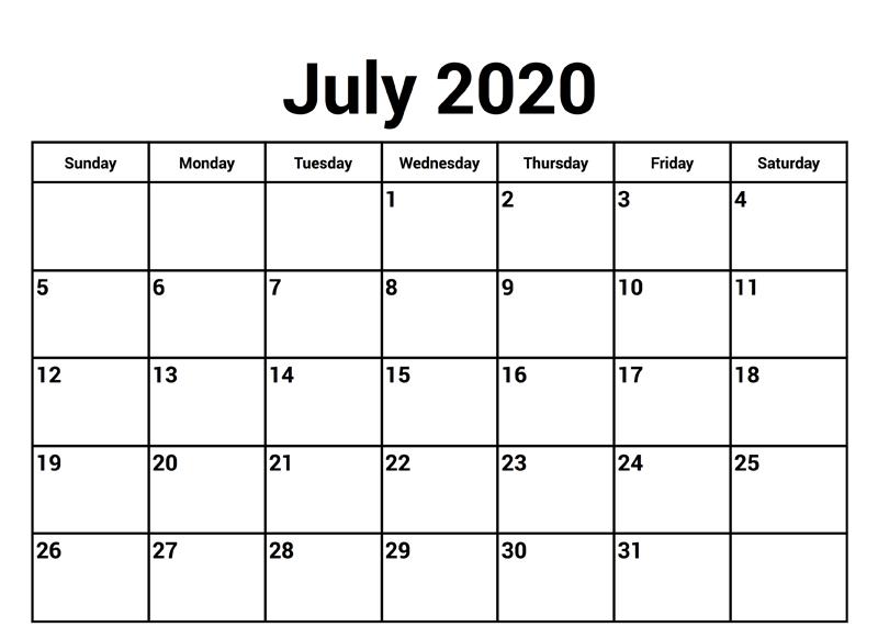 Printable PDF July 2020 Calendar