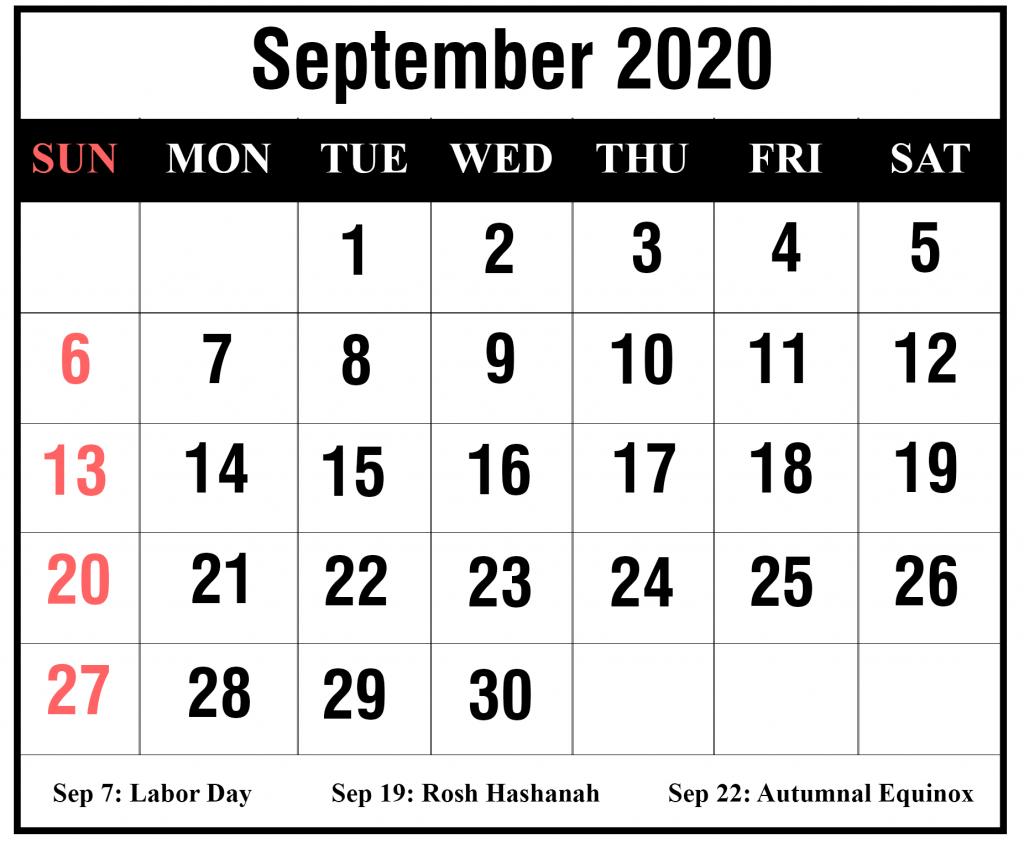 September Holidays Calendar 2020