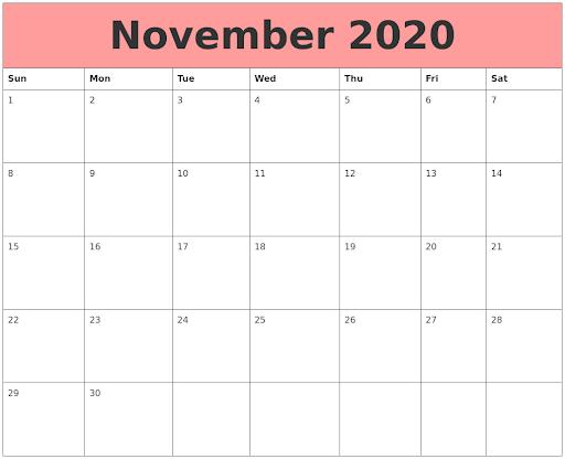 Cute November 2020 Calendar