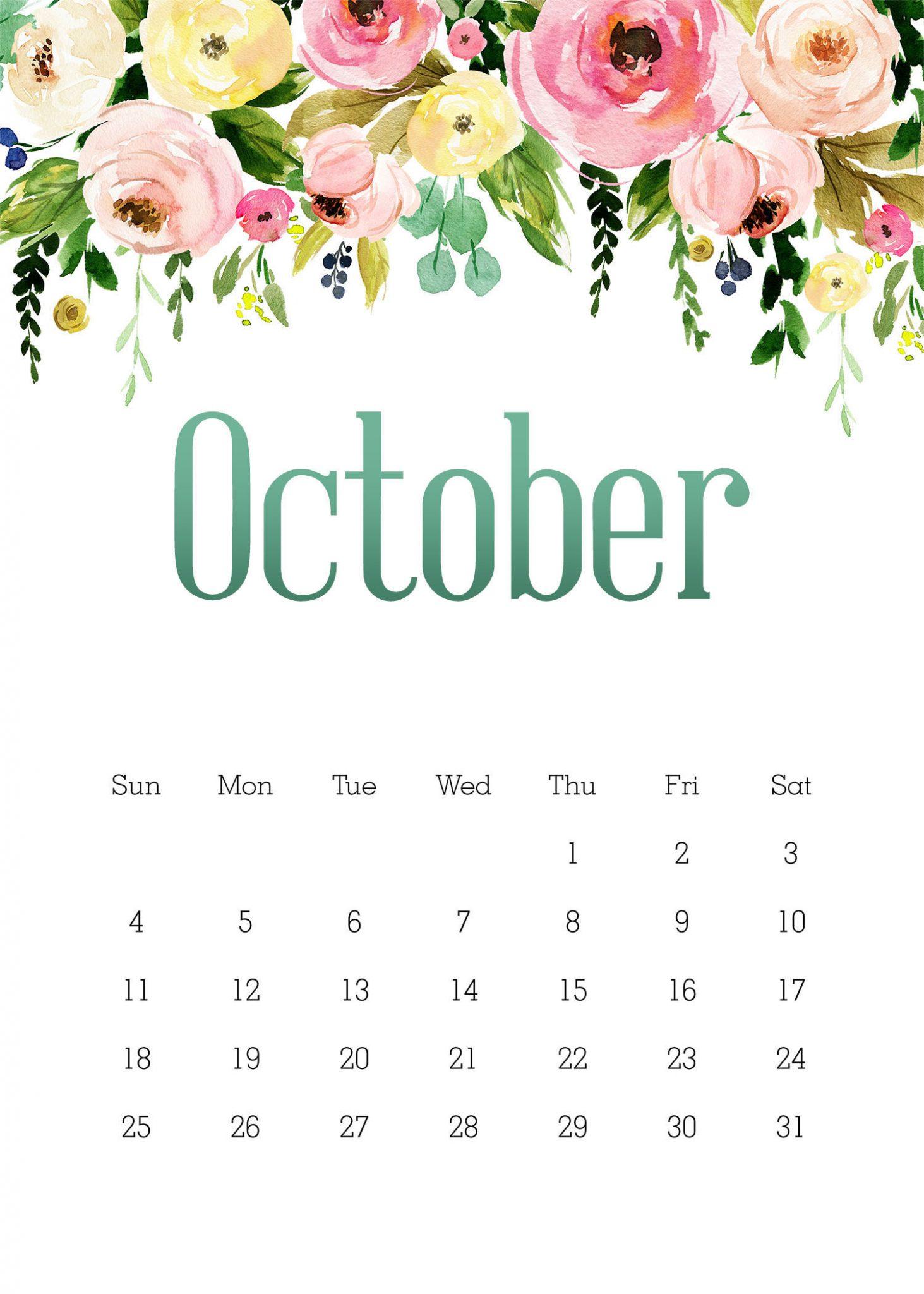 Cute October 2020 Floral Calendar