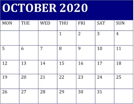 Decorative October 2020 Colorful Calendar