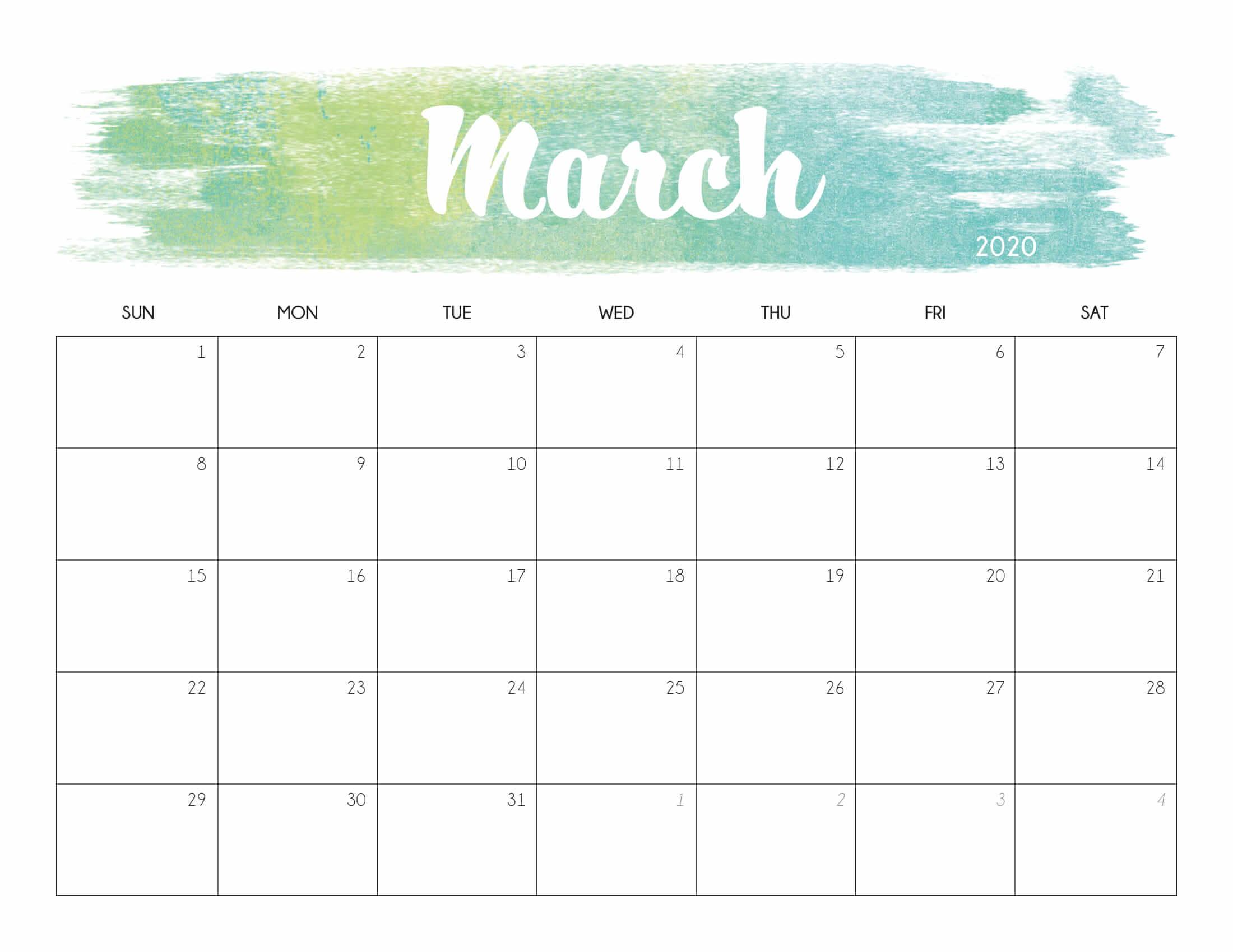 Cute March 2020 Calendar Printable