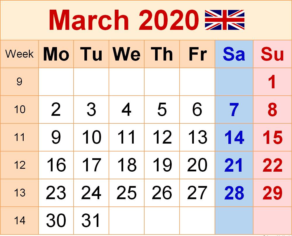 March 2020 Calendar UK