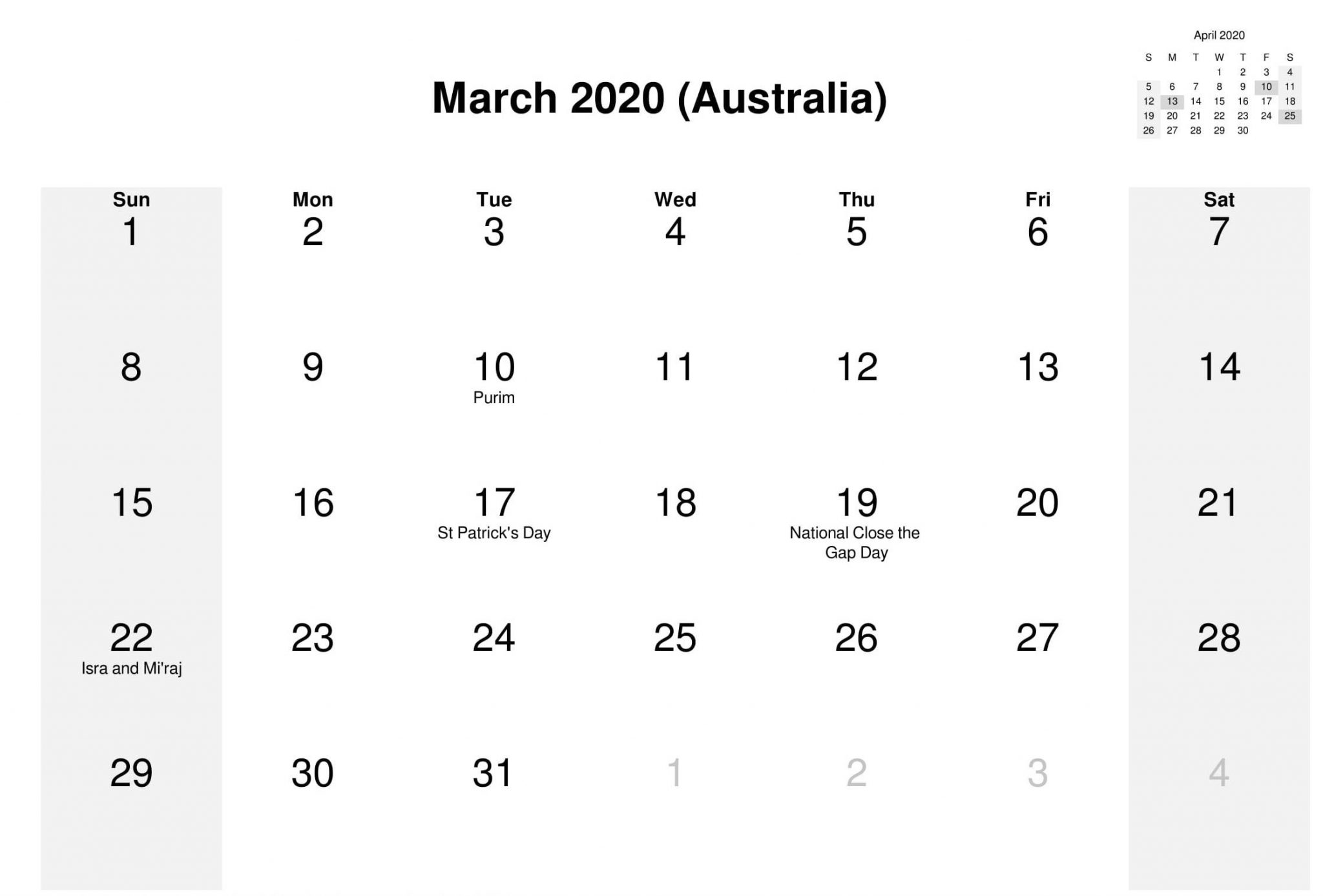 March 2020 Calendar with Australia Holidays