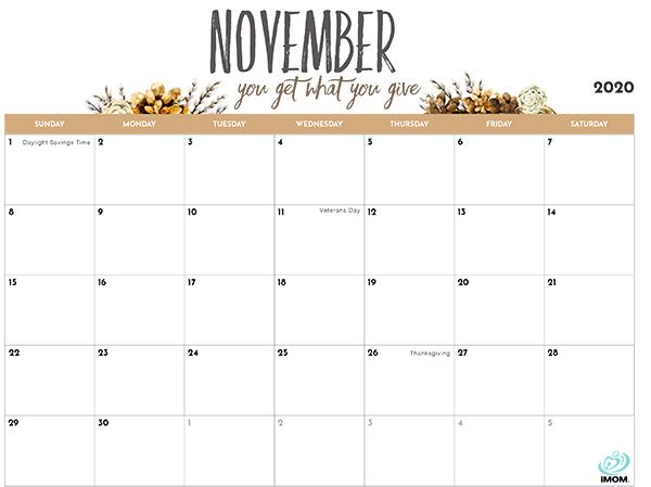 November Holidays Calendar 2020