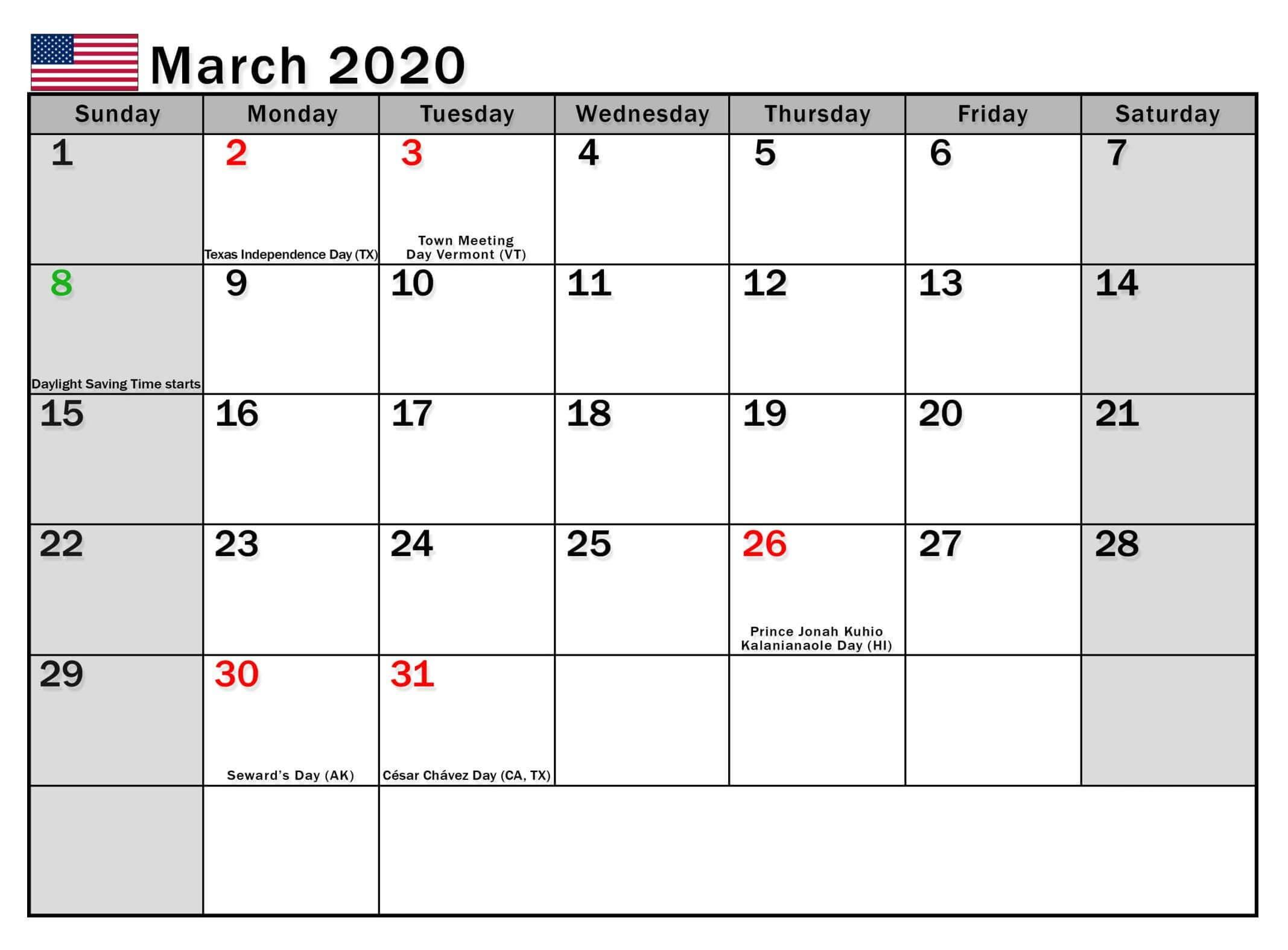 USA Holidays Calendar March 2020