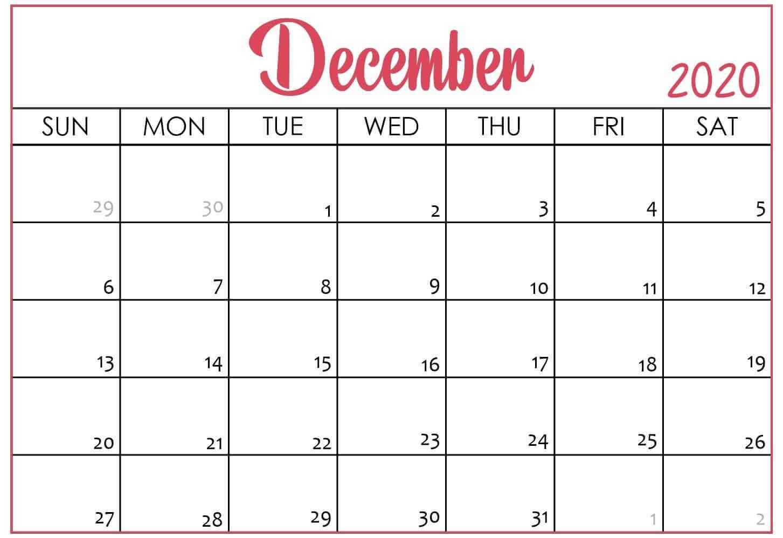 2020 December Editable Calendar