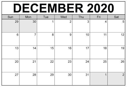 Blank Calendar For December 2020 Month
