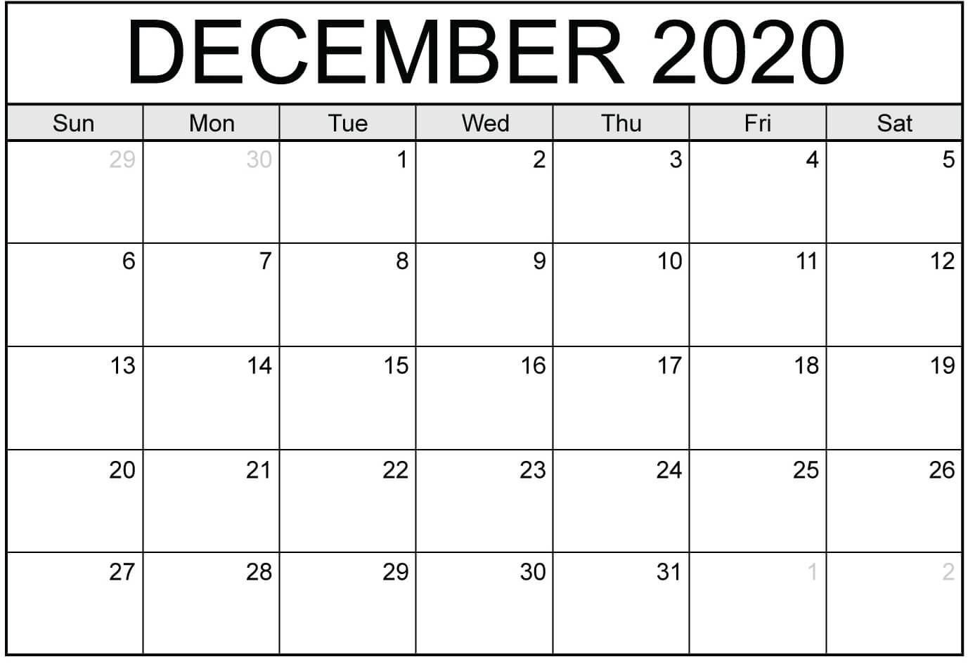 Blank Calendar Template December 2020