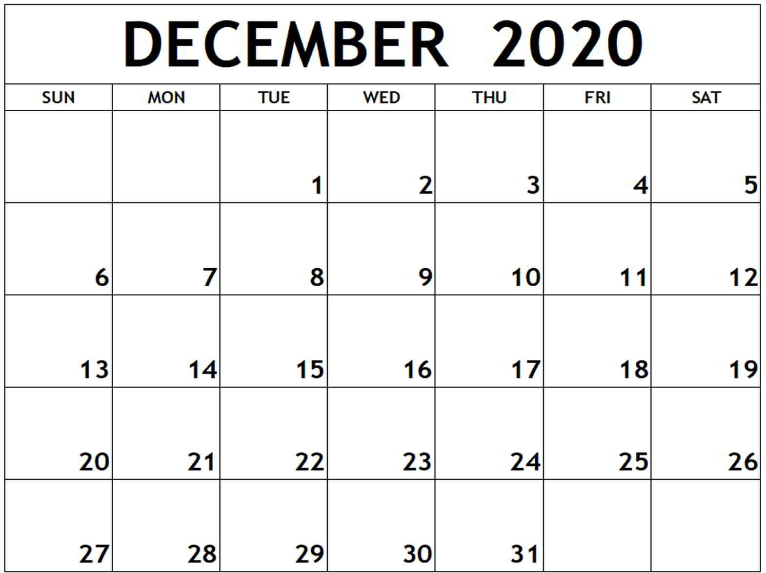 Blank December 2020 free printable calendar