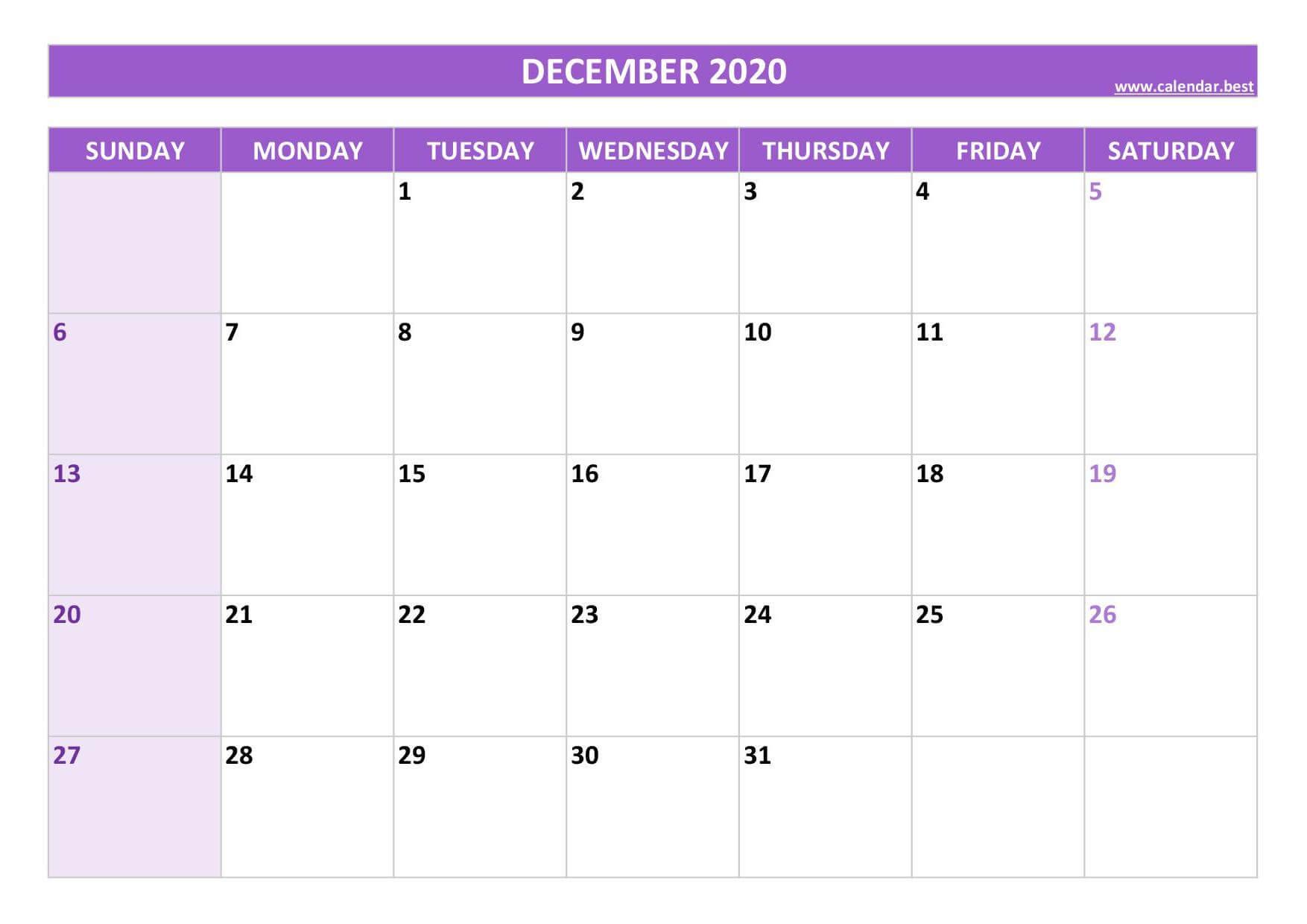 December 2020 Calendar Download