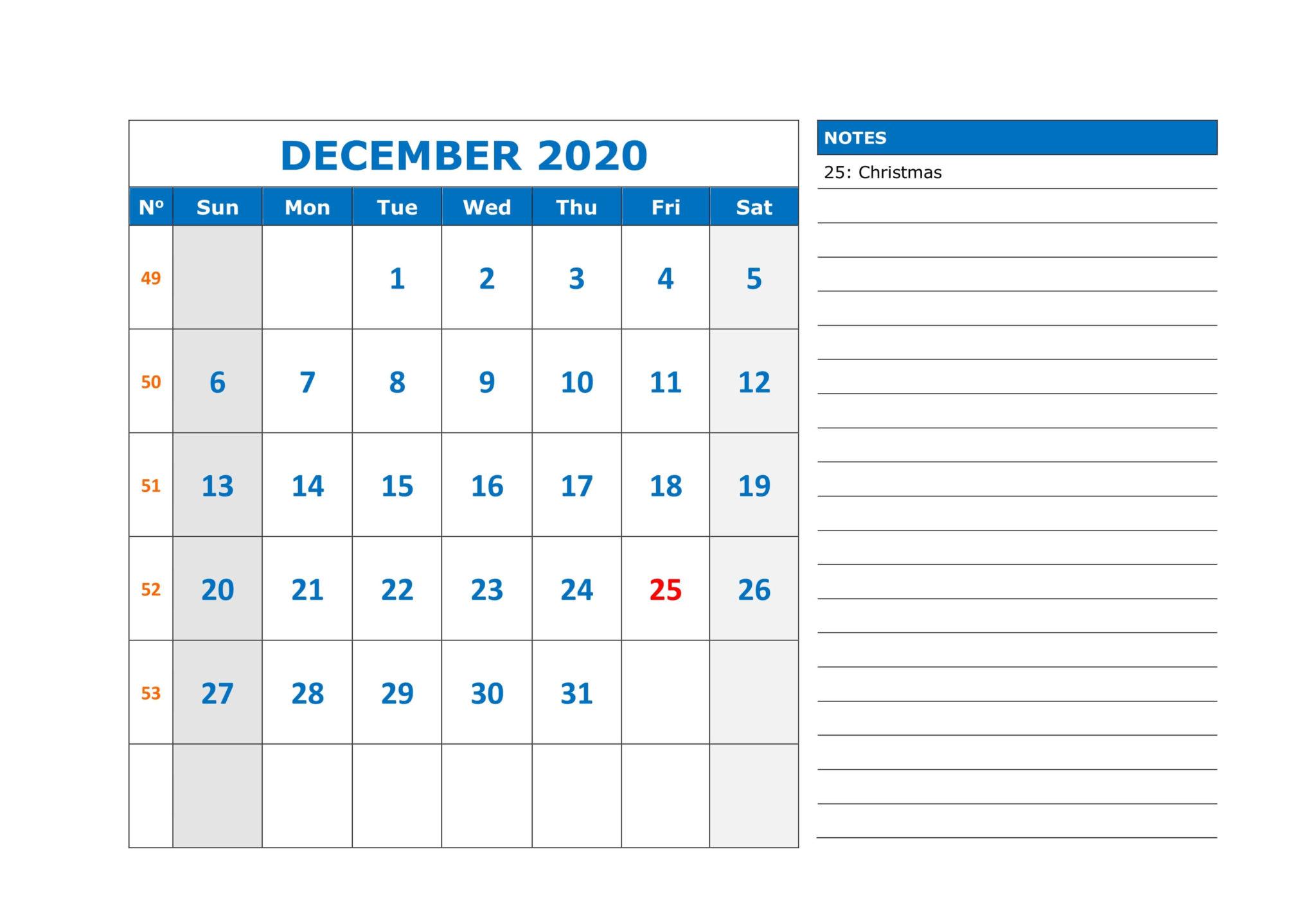 December 2020 Calendar Printable Template