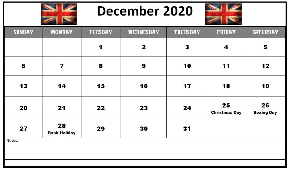 December 2020 Calendar with Holidays UK