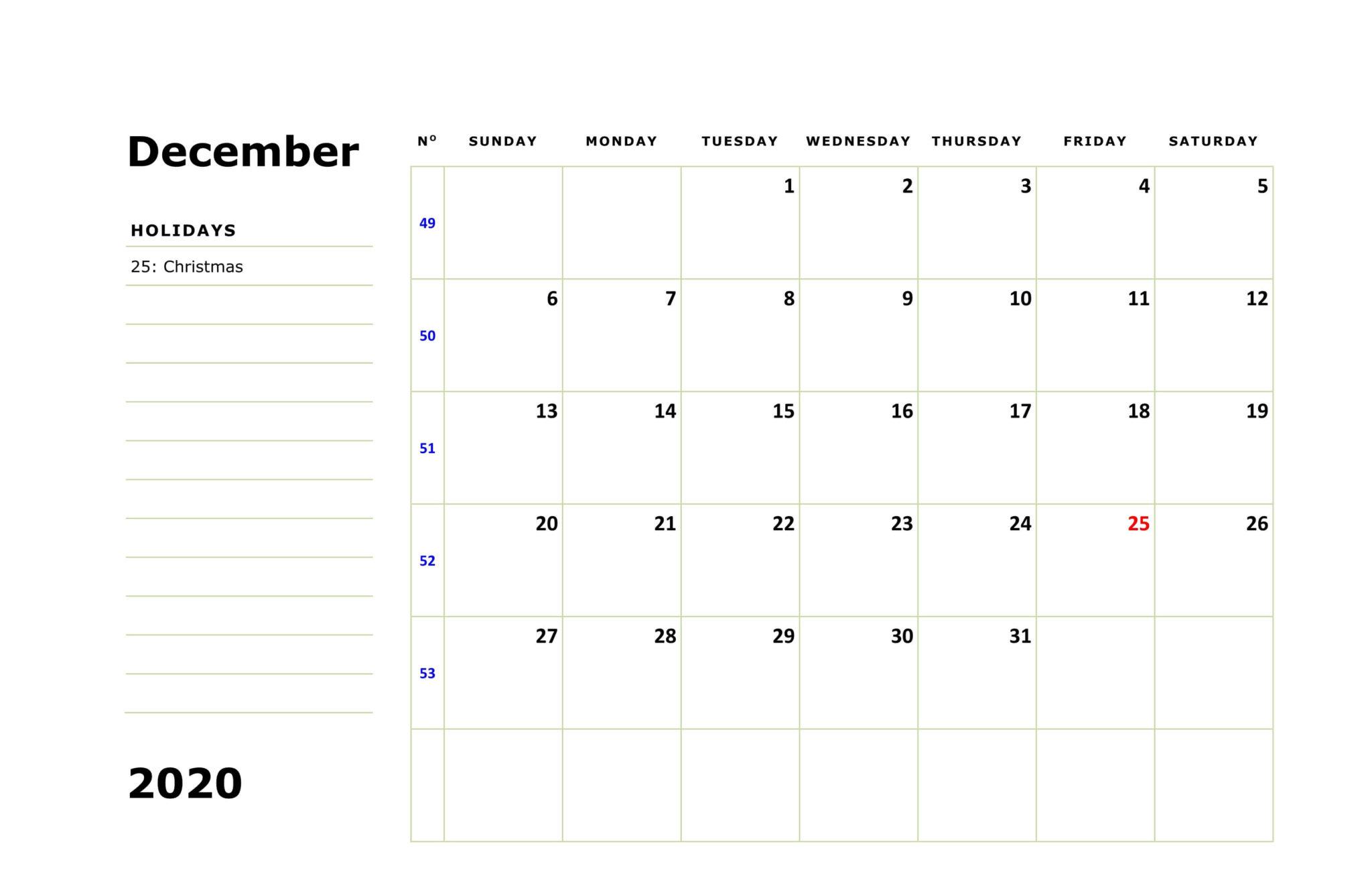 December 2020 Editable Calendar with Notes