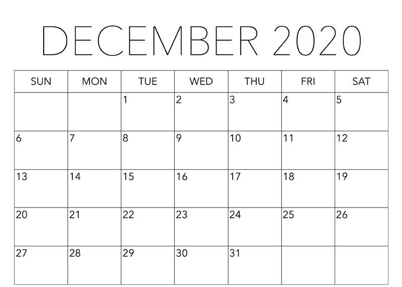Decorative December 2020 Calendar Template