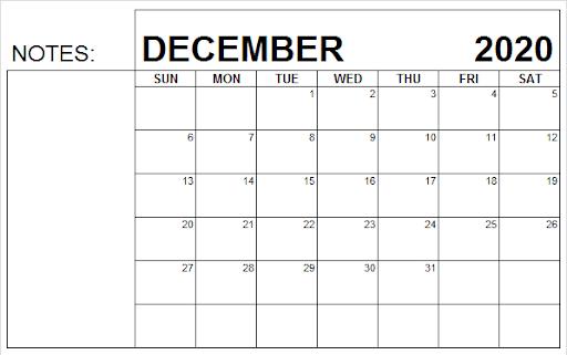 Fillable December 2020 Calendar To-do List