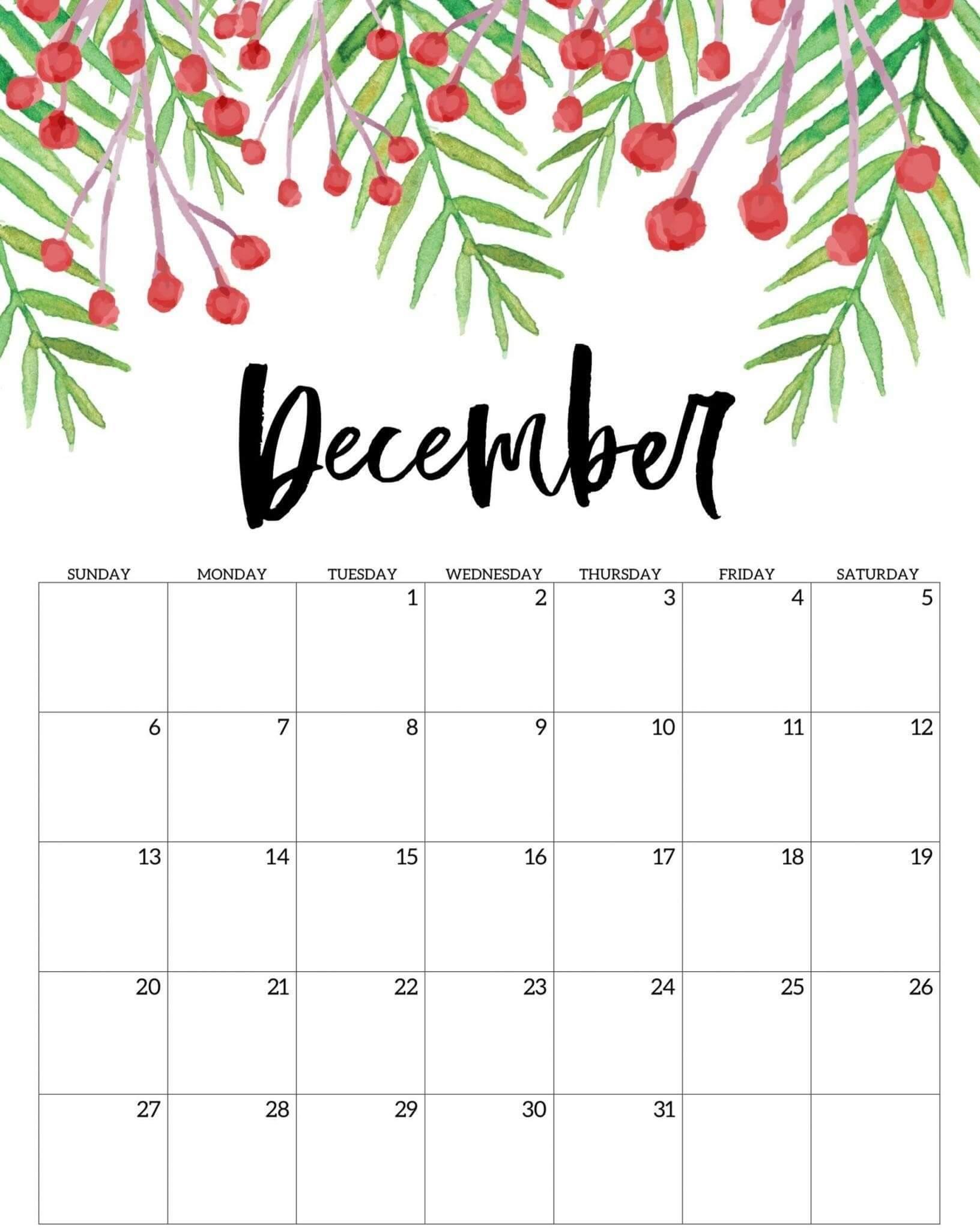 Floral December Calendar 2020 Printable