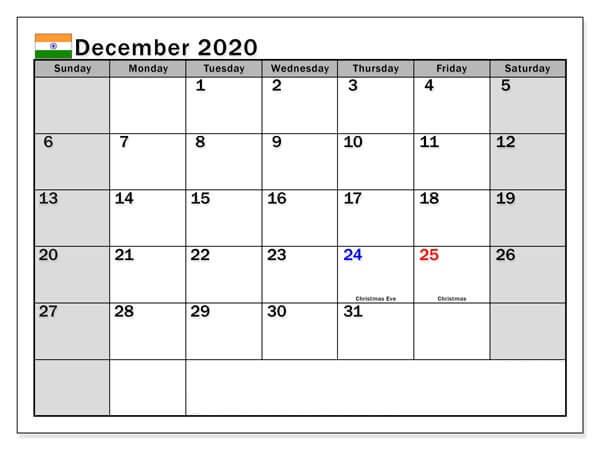 December 2020 Indian Holidays Calendar