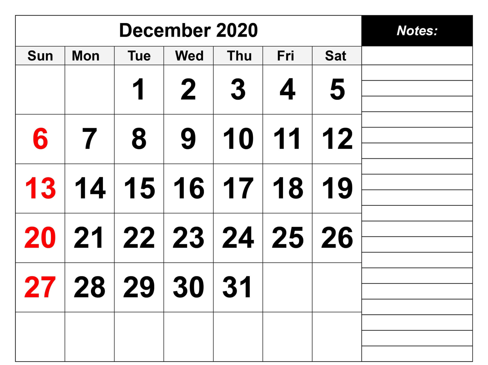 december 2020 notes calendar